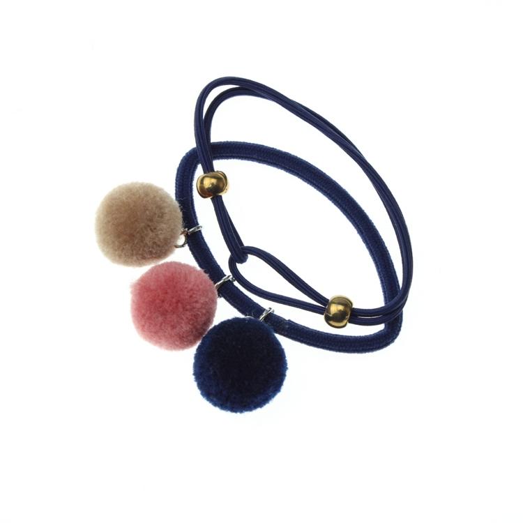 Hot Sale High Quality Pom Pom Ball Elastic Scrunchies Hair Tie