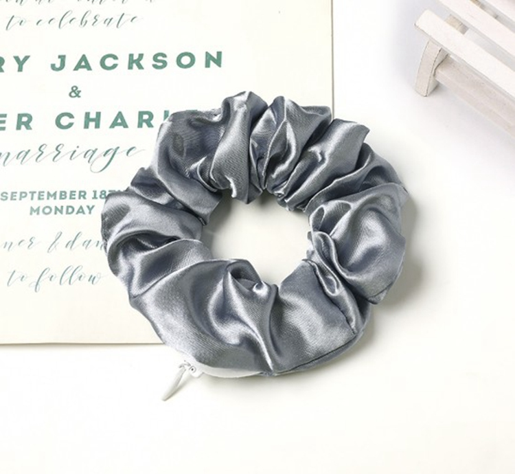 Elastic Hair Tie Satin Scrunchies With Pockets And Zipper In Stock