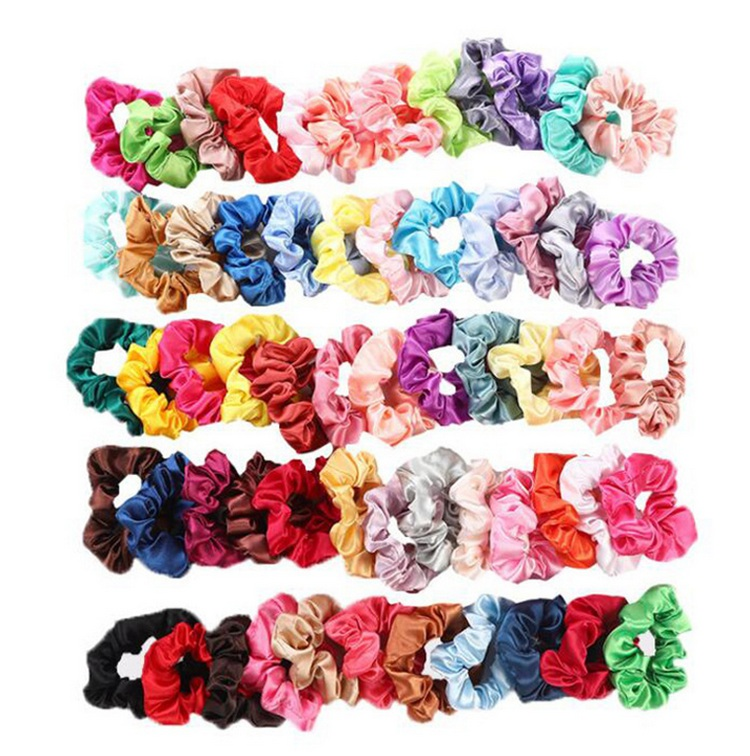 60 Solid Colors 2020 Fashion Women Hair Accessories Fabric Designer Elastic Hair Ties Bands Satin Scrunchies Wholesale