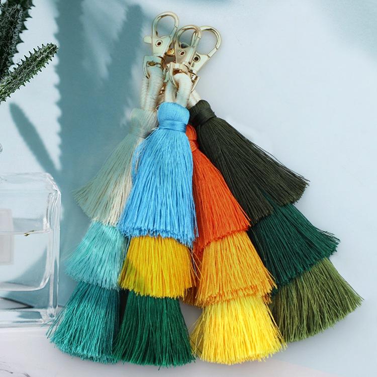 3 Layer Cotton Thread Tassel Pendant Bag Pendant Ethnic Style Euramerican Key Chain Bohemian 3 Layer Tassel Pendant