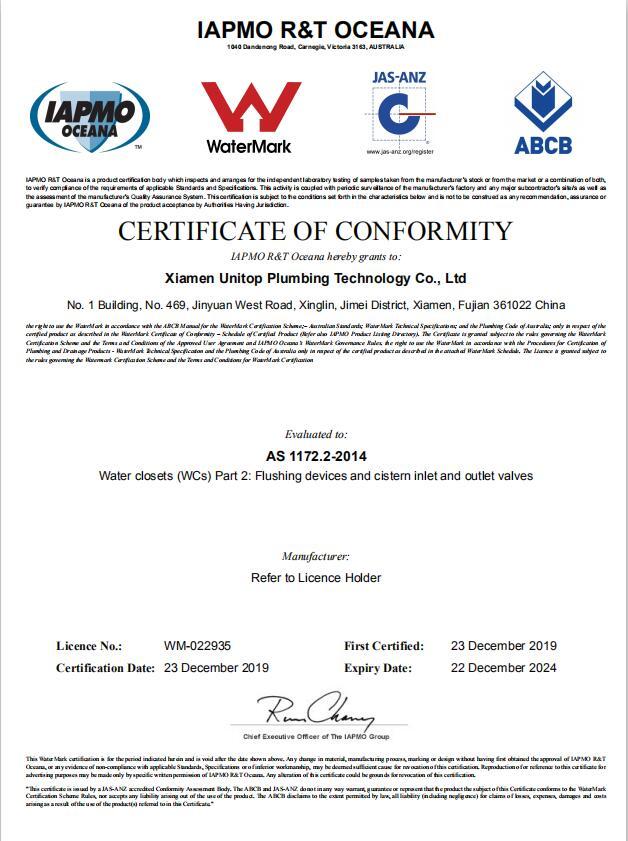 WM-022935 Certificate of Conformity